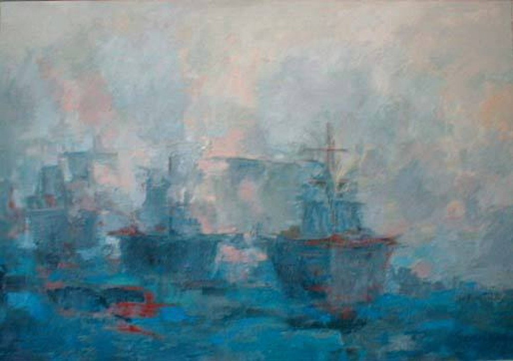Rios y mares. ALERTA MAXIMA. Óleo sobre lienzo. 97 x 130