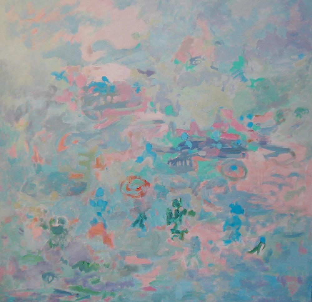 Cuadros de arte abstracto. En el arca de Noé. Óleo sobre lienzo. 100 x 100