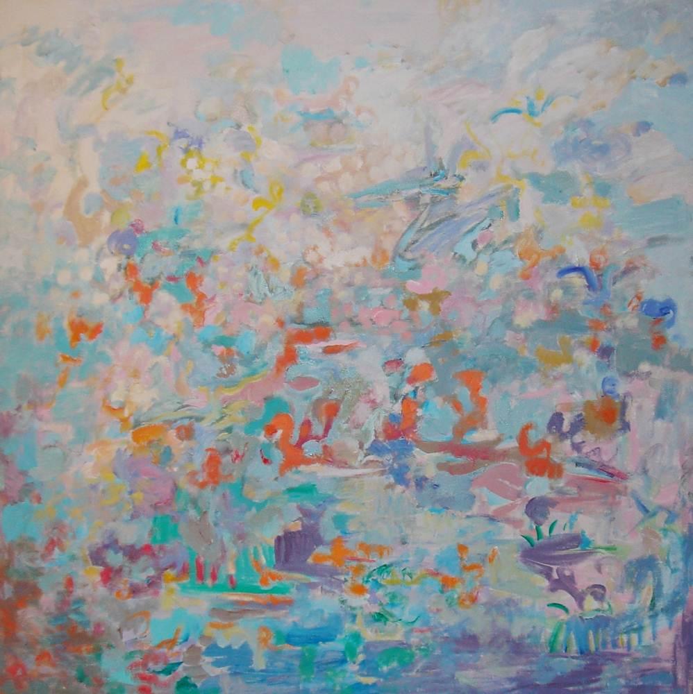 Cuadros de arte abstracto. En el Paraiso. Óleo sobre lienzo. 100 x 100
