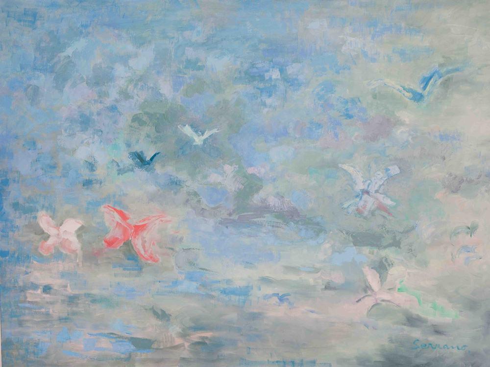 Pintura abstracta. EN LOS ORÍGENES I. Óleo sobre lienzo. 97 x 130