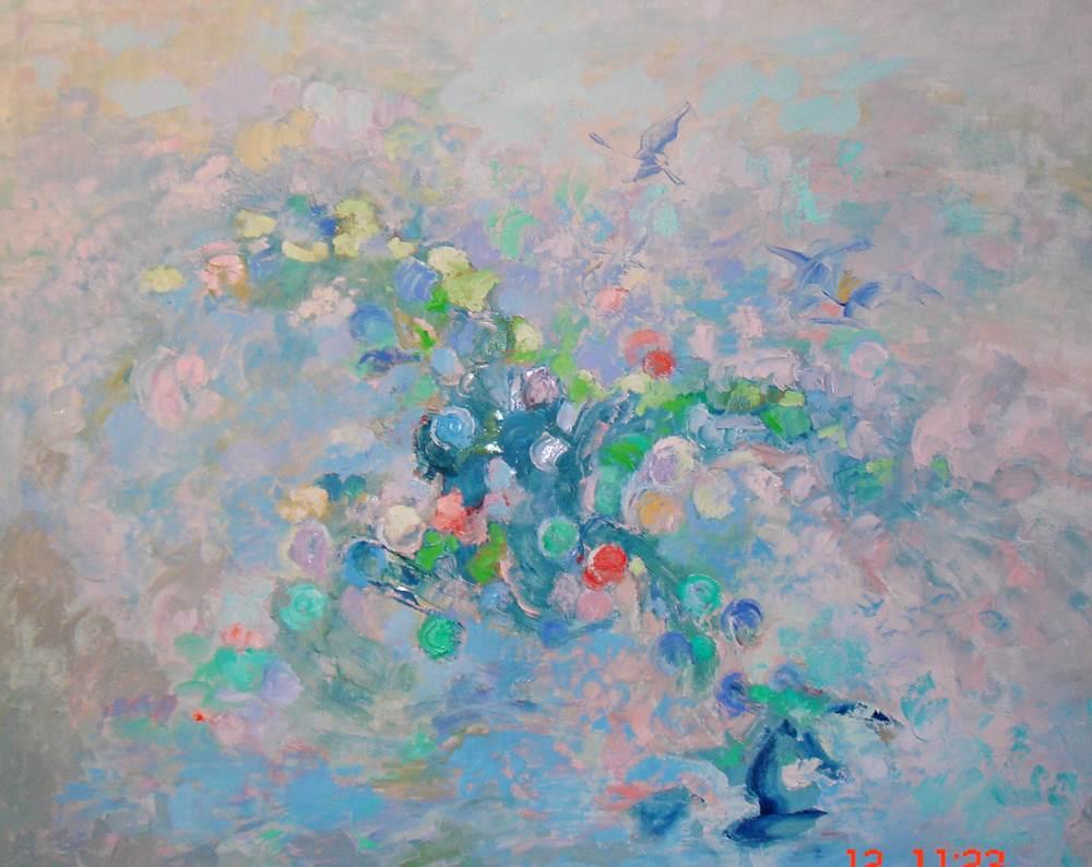 Flores y animales. EVOLUCIÓN. Óleo sobre lienzo. 81 x 100