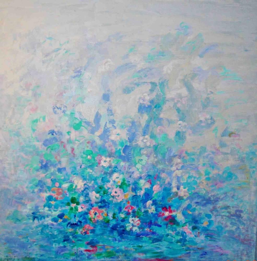 Flores y animales. FERTILIDAD. Acrílico sobre lienzo. 130 x 130
