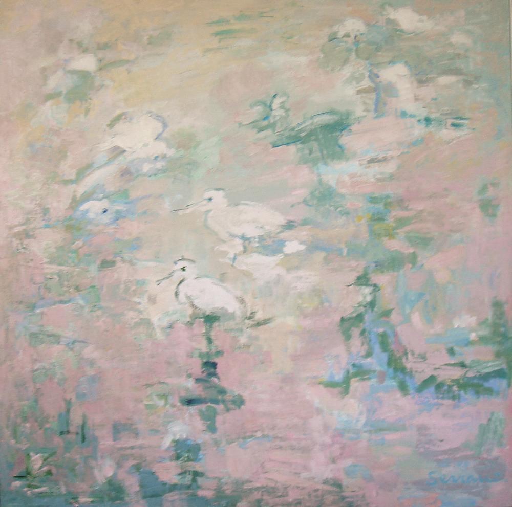 Flores y animales. MIGRACIÓN I. Óleo sobre lienzo. 100 x 100