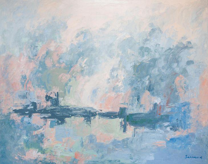 Pintura abstracta. Paisaje encantado. Óleo sobre lienzo. 130 x 162