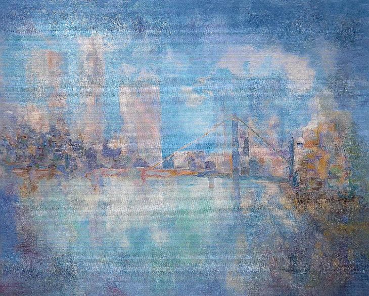Paisajes urbanos. ECO DE LA CIVILIZACIÓN. Óleo sobre lienzo. 81 x 100