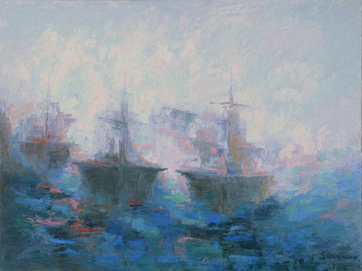 Rios y mares. ALERTA MÁXIMA II. Oleo sobre lienzo 81 x 100