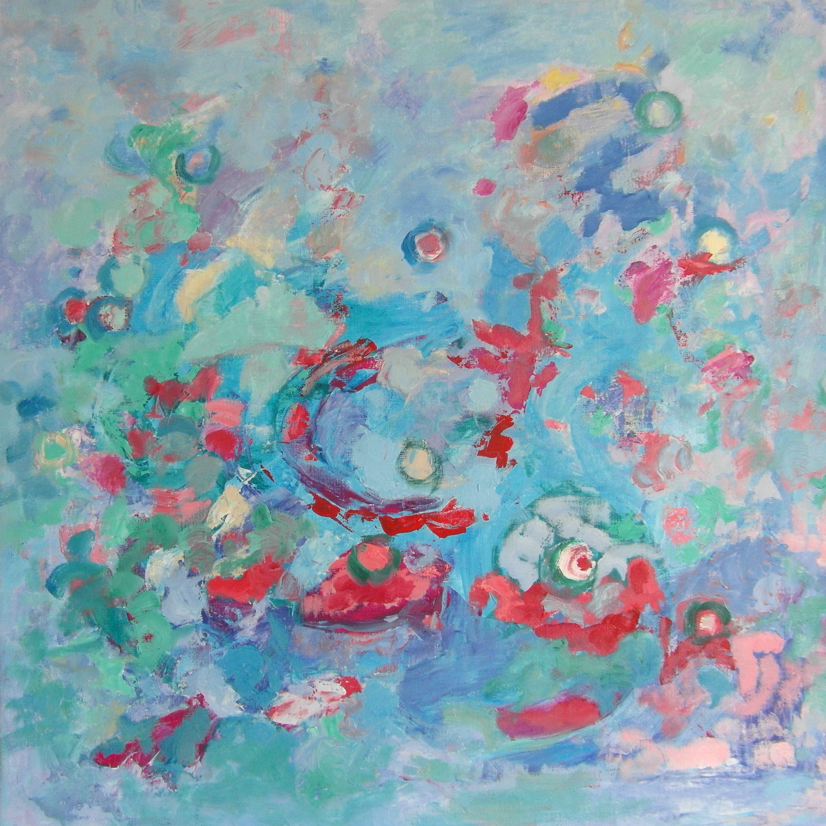 Pintura abstracta. ANTEPASADO UNIVERSAL. Óleo sobre lienzo 60 x 60