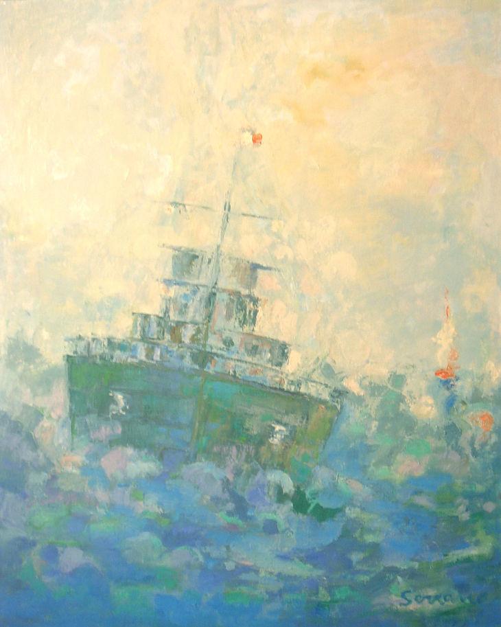 Rios y mares. NAVEGANDO II. Óleo sobre lienzo. 81 x 64