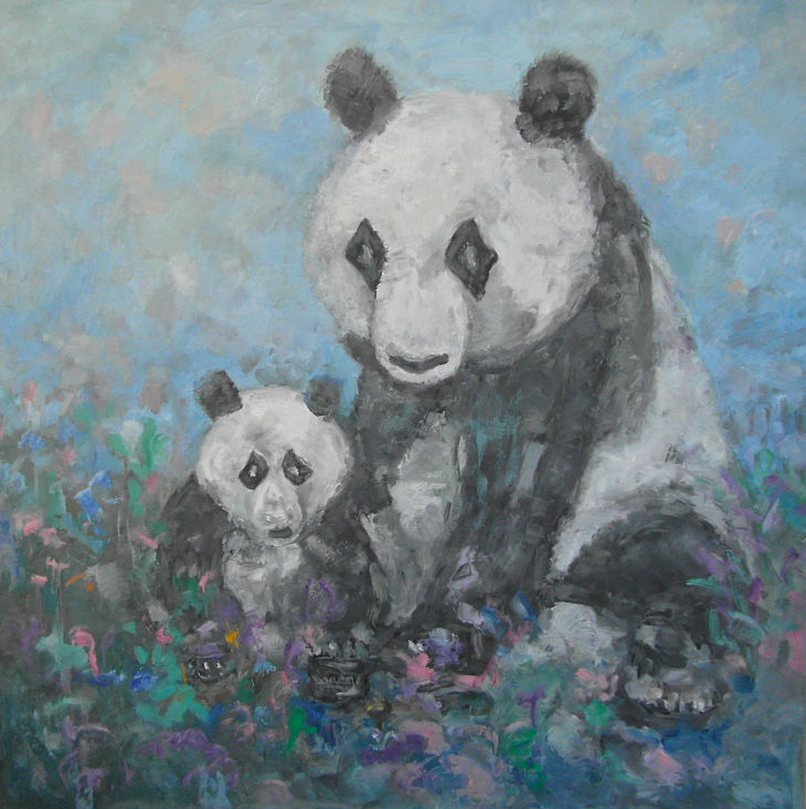 Flores y animales. PANDAS II Oleo sobre lienzo 100 x 100