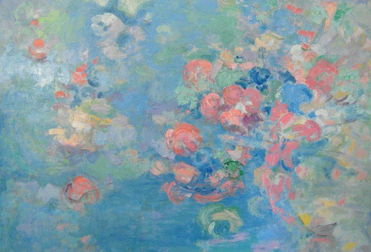 Flores y animales. PRIMAVERA. Óleo sobre lienzo. 90 x 130