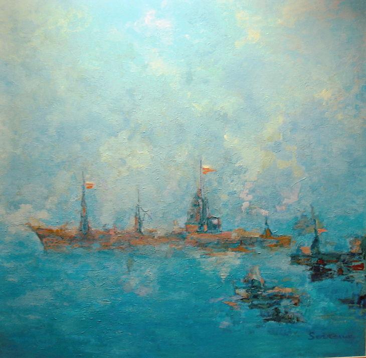 Rios y mares. SINGLADURA. Oleo sobre lienzo 100 x 100