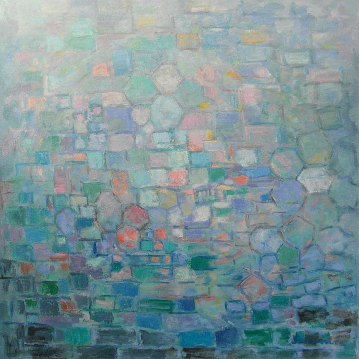 Pintura abstracta. SINTONÍA. Óleo sobre lienzo. 100 x 100