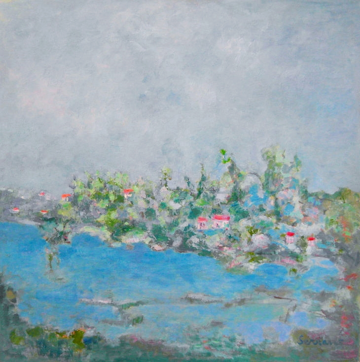 Rios y mares. ZONA DE RETIRO. Oleo sobre lienzo 100 x 100