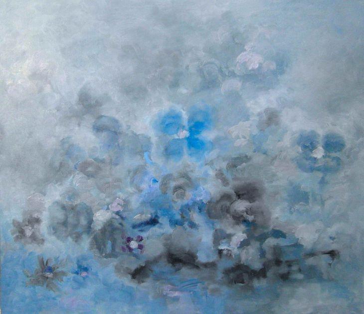Cuadros de arte abstracto. FUSIÓN FRIA. Oleo sobre lienzo 70 x 81