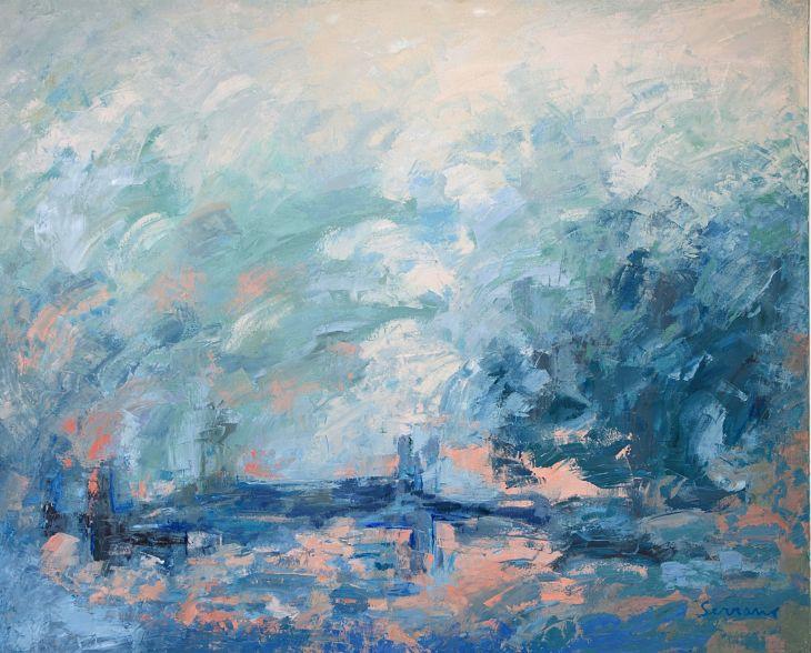 Pintura abstracta. Tentación - Óleo sobre lienzo. 130 x 162