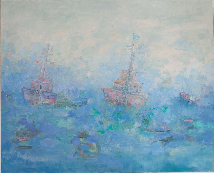 Rios y mares. NAVEGANDO I Oleo sobre lienzo 81 x 100