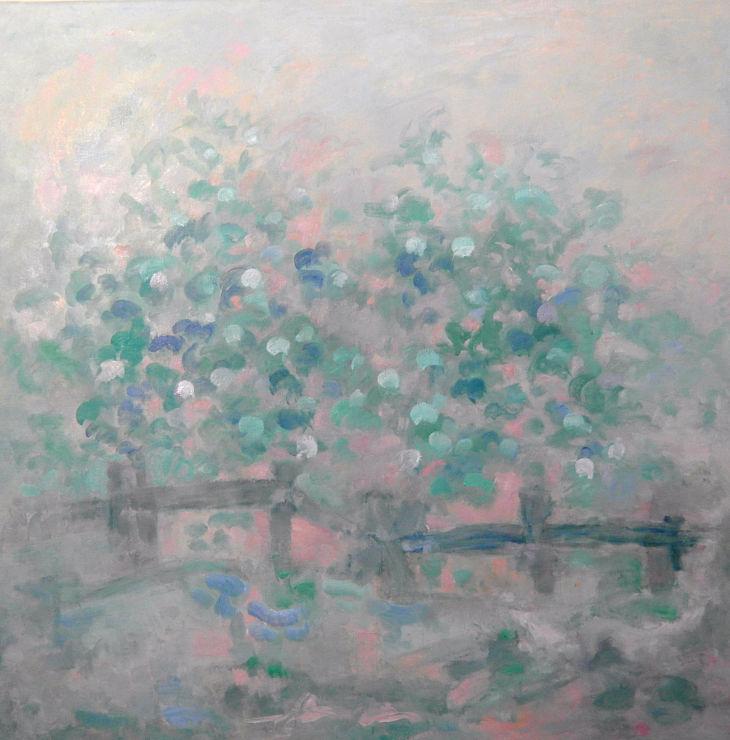 Flores y animales. PAISAJE SENSIBLE. Óleo sobre lienzo. 100 x 100