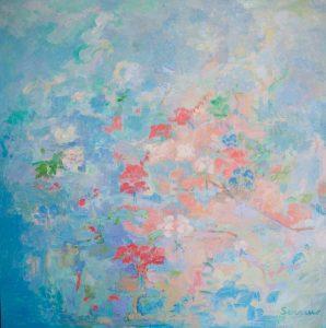 ANUNCIACIÓN. Pintura abstracta. Óleo sobre lienzo. 130 x 130
