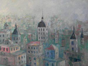 Paisaje urbano.ESCENA URBANA Óleo sobre lienzo. 81 x 100